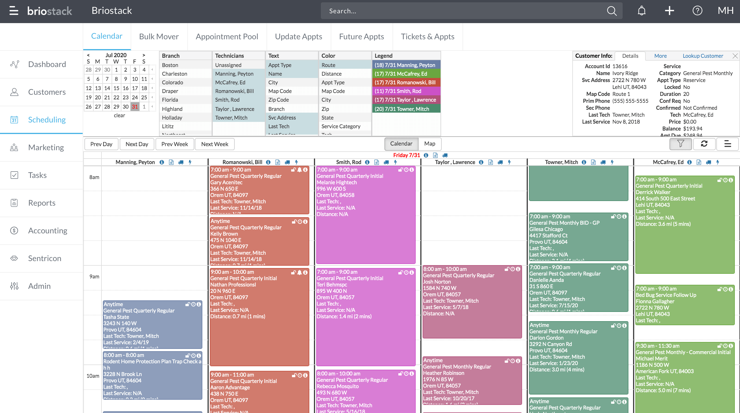 BrioOffice - Calendar view